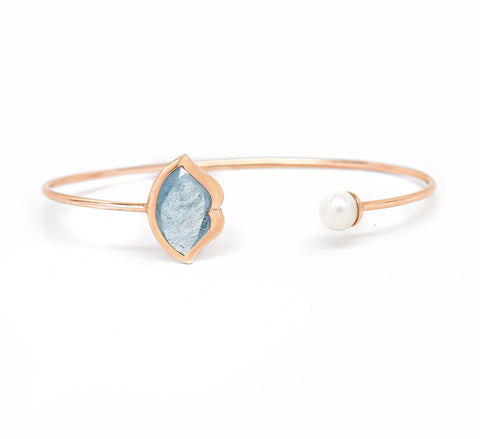 'French Kiss' Lip Bangle in Aquamarine + Pearl