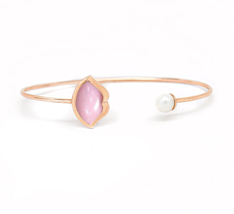 'French Kiss' Lip Bangle in Pink Opal + Pearl