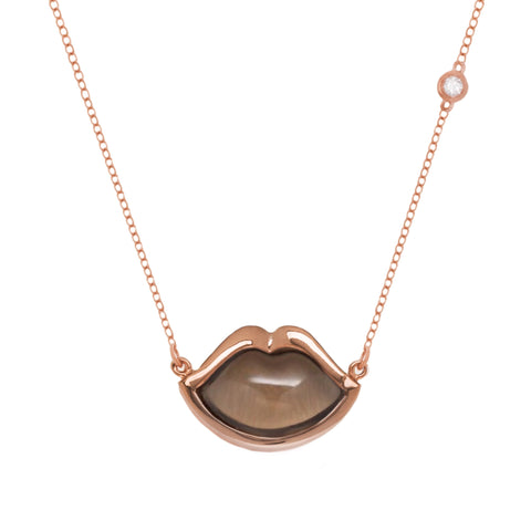 "18"" 'French Kiss' Lip Necklace in Smoky Quartz"