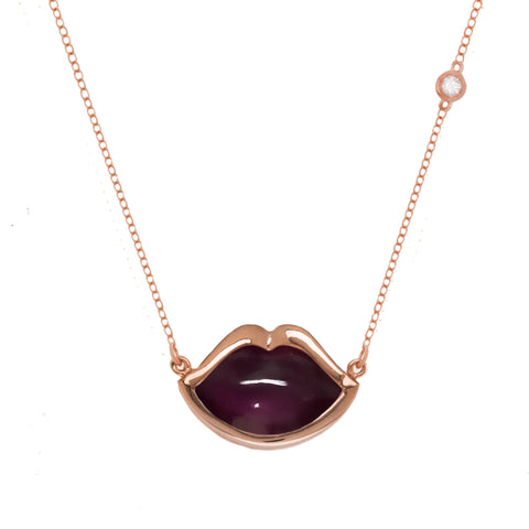 "18"" 'French Kiss' Lip Necklace in Fuchsia Ruby"