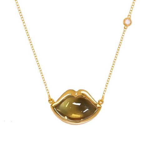 "18"" 'French Kiss' Lip Necklace in Citrine"