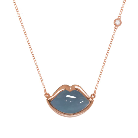"18"" 'French Kiss' Lip Necklace in Aquamarine"