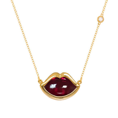 "18"" 'French Kiss' Lip Necklace in Crimson Ruby"