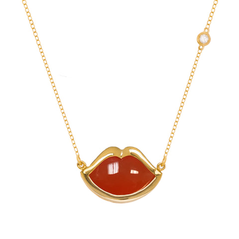 "18"" 'French Kiss' Lip Necklace in Orange Chalcedony"