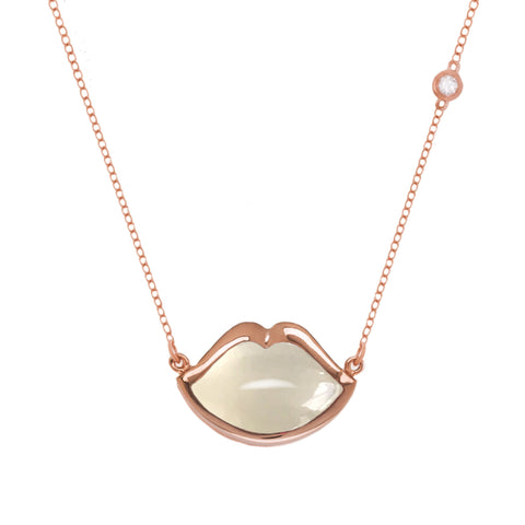 "18"" 'French Kiss' Lip Necklace in Moonstone"