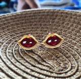 'French Kiss' Studs in Crimson Ruby