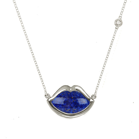"18"" 'French Kiss' Lip Necklace in Lapis"