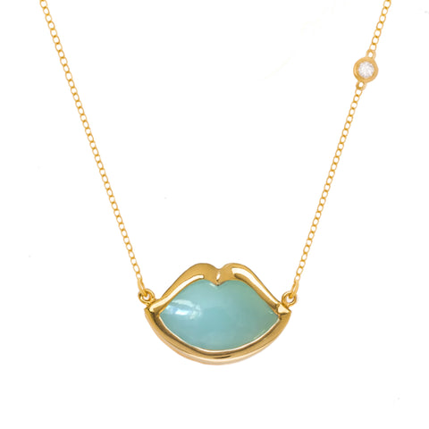 "18"" 'French Kiss' Lip Necklace in Chrysoprase"