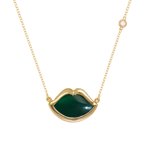 "18"" 'French Kiss' Lip Necklace in Green Agate"
