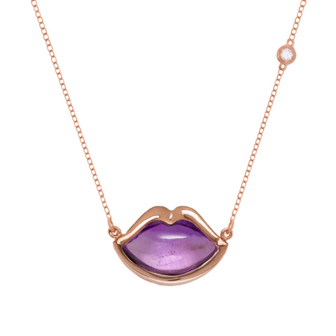 "18"" 'French Kiss' Lip Necklace in Amethyst"
