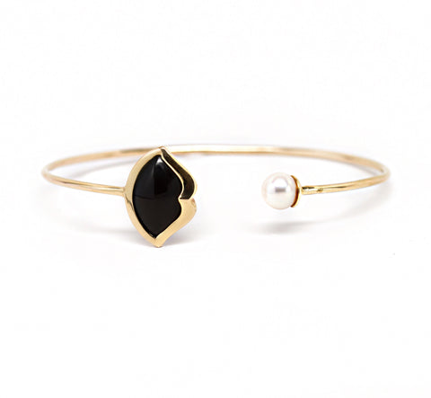 'French Kiss' Lip Bangle in Onyx + Pearl/Diamond Pave