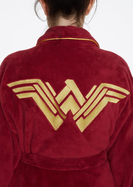 Batman Vs Superman Wonder Woman Logo Bathrobe Back Close Up