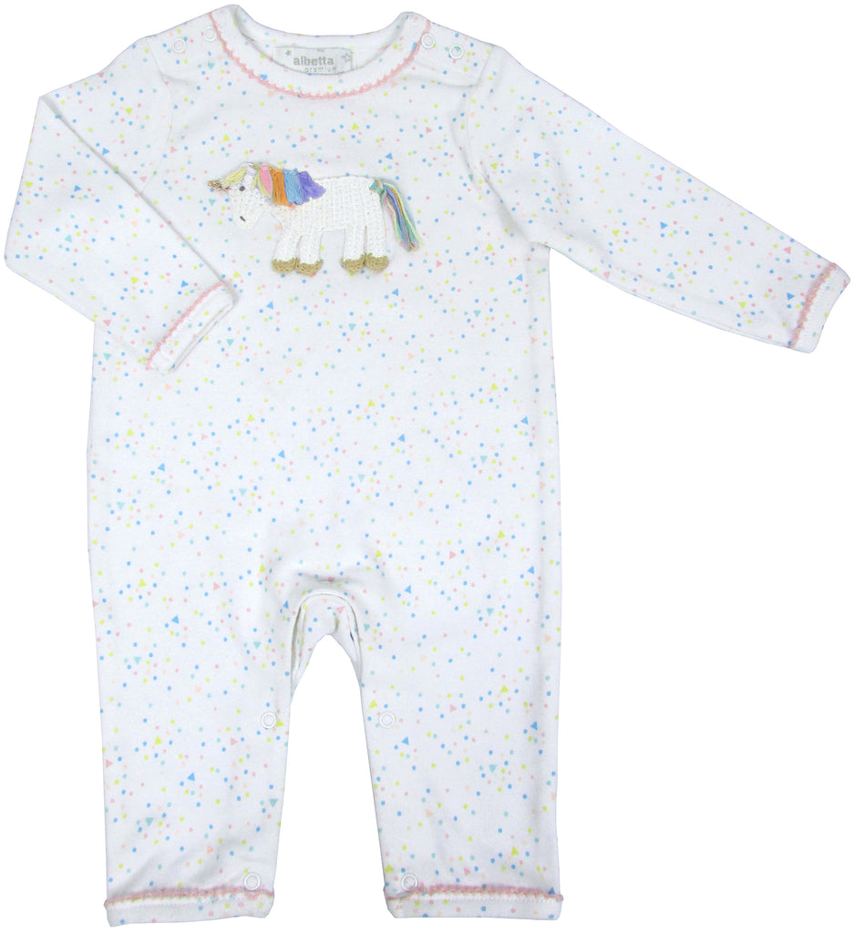 Unicorn with confetti Romper - Pip & Squeaks