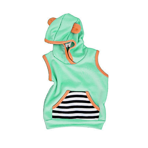 Surf Sleeveless Hoodie in Mint Green - Pip & Squeaks