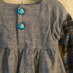Flannel Long sleeved Dress with Jeweled Buttons - Pip & Squeaks