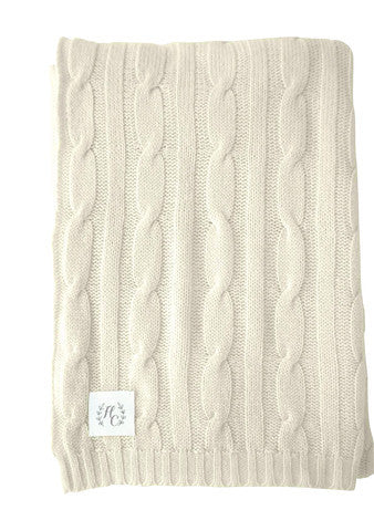 Cable knit Cashmere baby blanket