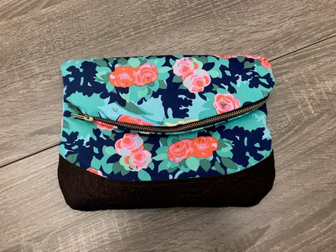 Large Blue Floral Clutch