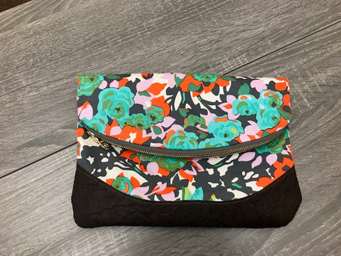 Large Gray Floral Clutch