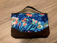 Large Blue and Orange Floral Clutch with Handle - Pip & Squeaks