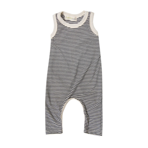 Ronnie Knit Romper in Navy Stripe