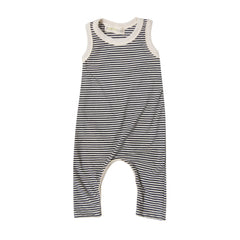 Ronnie Knit Romper in Navy Stripe - Pip & Squeaks