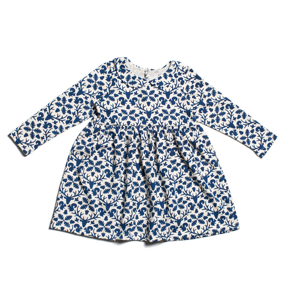 Animal Kingdom Dress in blue with Peter pan collar - Pip & Squeaks