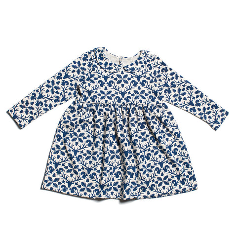 Animal Kingdom Dress in blue with Peter pan collar