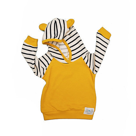 Dallas Hoodie in Mustard and Navy Stripe