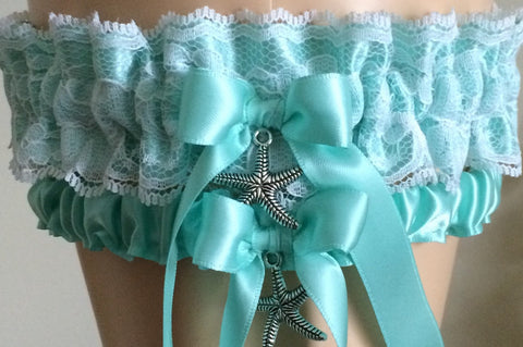 Aqua Satin and White Lace Wedding Garter Set, Prom Garter Set