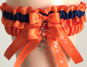 Orange and Navy Blue Wedding Garter Set, Prom Garter