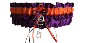 Plum Purple and Orange Wedding Garter Set, Prom Garter Set