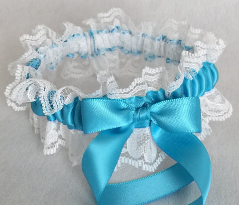 Turquoise and White Lace Wedding Garter, Prom Garter