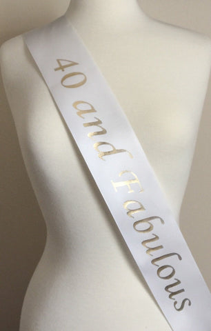 40th Birthday Party Favor Sash, 40 and Fabulous Birthday Party Favor Sash