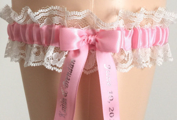 Pink and Ivory Lace Wedding Garter, Ivory Lace Bridal Garter, Prom Garter, Weddings, Custom Wedding, Lace Bridal Gift