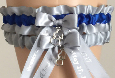 Silver and Royal Blue Wedding Garter Set, Choose Your Color, Silver Bridal Garter Set, Prom Garter, Silver Weddings, Personalized Wedding