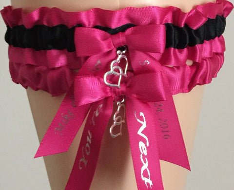 Fuchsia Pink and Black Wedding Garter Set, Fuchsia Pink Bridal Garter Set, Prom Garter, Pink Weddings, Custom Wedding