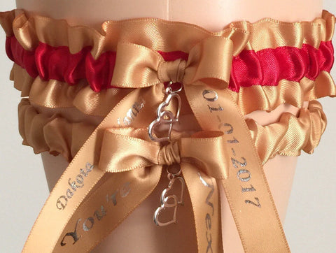 Gold and Red Wedding Garter Set, Gold Bridal Garter Set, Prom Garter, Gold Weddings, Custom Wedding, Bridal Garters for Weddings