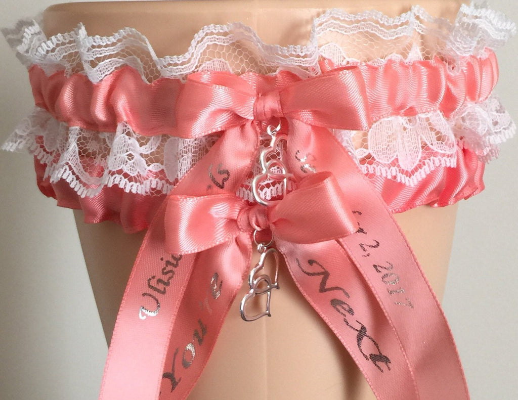 Coral and White Lace Wedding Garter Set, white Lace Bridal Garter Set, Prom Garter, Weddings, Custom Wedding, Bridal Garter Belt