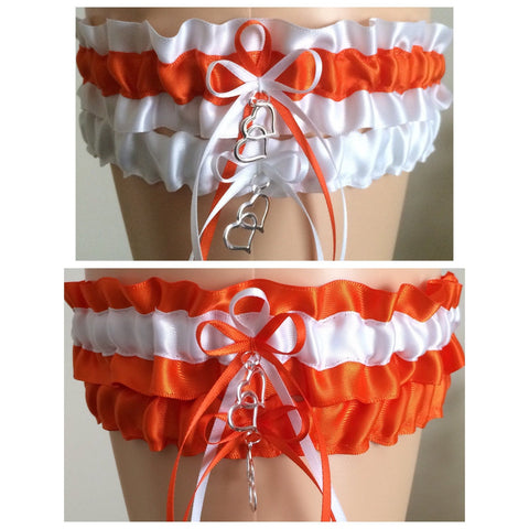 Orange and White Wedding Garter Set, Prom Garter Set