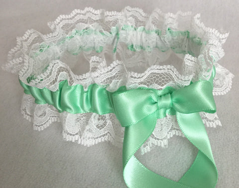 Mint Green and White Lace Wedding Garter, Prom Garter