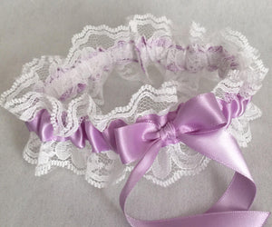 Orchid Purple and White Lace Wedding Garter, Prom Garter