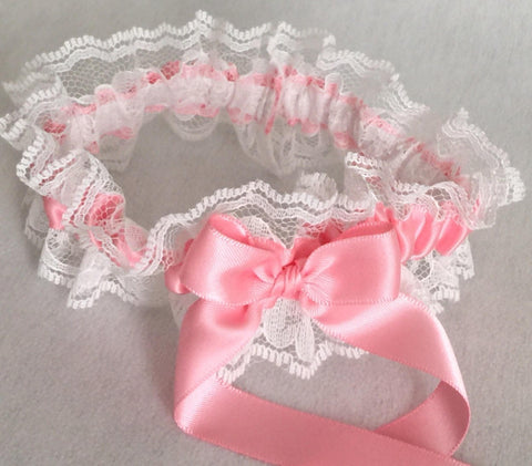 Pink and White Lace Garter