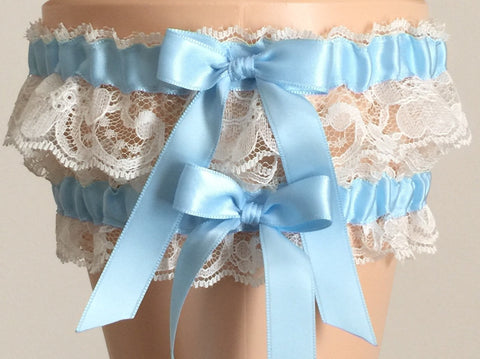 Blue and Ivory Lace Wedding Garter Set, Ivory Lace Wedding Garter Set