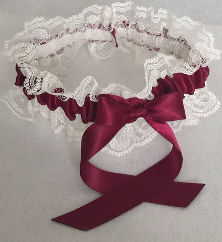 Burgundy and Ivory Lace Wedding Garter, Prom Garter