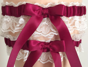 Burgundy and Ivory Lace Wedding Garter Set, Prom Garter