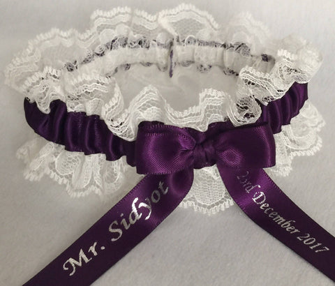 Plum Purple and Ivory Lace Wedding Garter, Bridal Garter, Prom Garter, Garter Belt, Lace Garter, Plus Size Garter, Lace Garters for Weddings