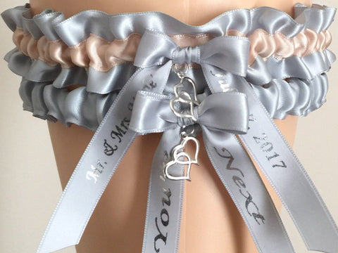 Silver and Blush Wedding Garter Set, Prom Garter Set