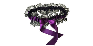 Plum Purple and Black Lace Wedding Garter, Bridal Garter, Prom Garter, Garter Belt, Lace Garter, Plus Size Garter, Weddings