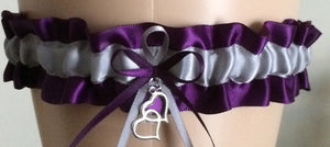 Plum Purple and Silver Wedding Garter, Bridal Garter, Prom Garter, Keepsake Garter, Garters, Bridesmaid Garters, Engagement