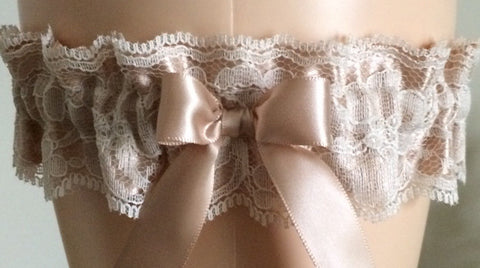 Tan Lace Wedding Garter Set, Bridal Garter, Prom Garter, Tan Lace Garter, Garters for Weddings, Garter, Bridal Gift, Lace Garter
